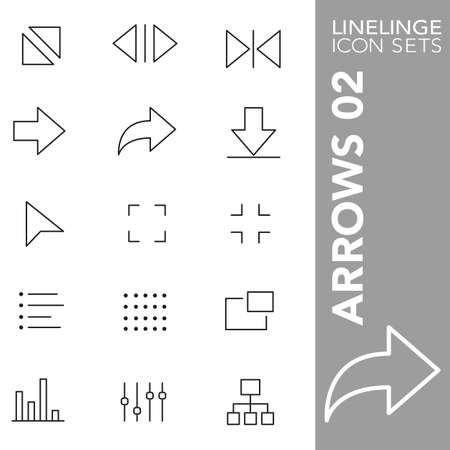 downsize: Thin Line Icons Arrows 02 Illustration