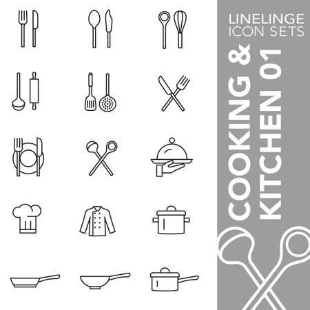 midday: Thin Line Icons Cooking & Kitchen