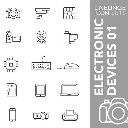 electronic devices: Thin Line Icons Electronic Devices 01