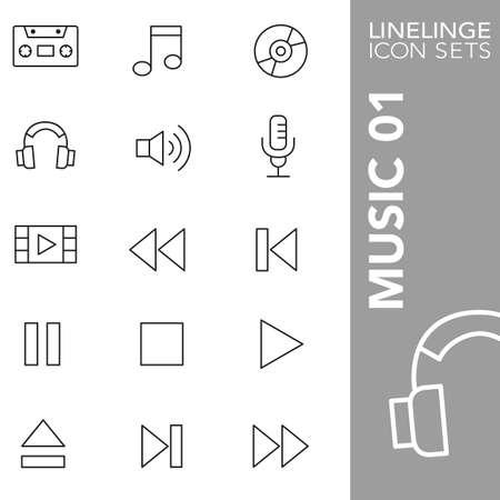 01: Thin LInes Icons Music 01 Illustration