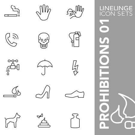 osh: Thin Line Icons Prohibitions 01