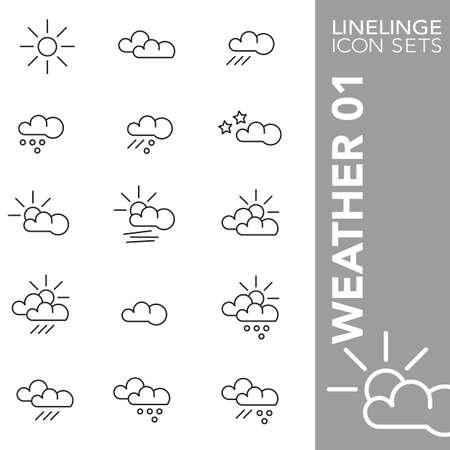 sleet: Thin Line Icons Weather 01 Illustration