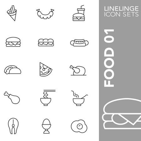 finger fish: Thin Line Icons Food 01 Illustration
