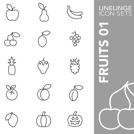 apples and oranges: Thin Line Icons Fruits 01 Illustration