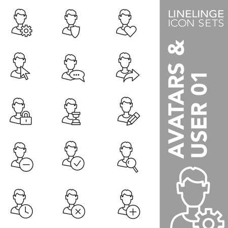 01: Thin Line Icons Avatars & User 01