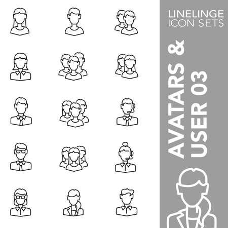 03: Thin Line Icons Avatars & User 03 Illustration
