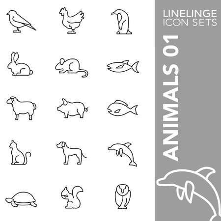 01: Thin Line Icons Animals 01 Illustration