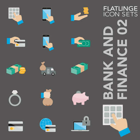 cash money: Bank and Finance 02 colorful icon sets