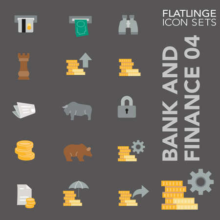 cash money: Bank and Finance 04 colorful icon sets