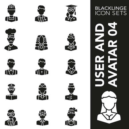 High quality black and white icons of occupations and professions. Blacklings are the best pictogram pack unique design for all dimensions and devices. Vector graphic logo symbol and website content.