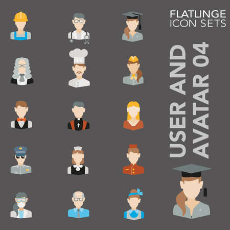 High quality flat colorful icons of occupation and profession. Flatlings are the best color pictogram pack unique design for all dimensions and devices. Vector graphic logo symbol and website content Ilustracja