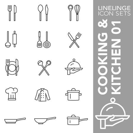 High quality thin line icons of cooking, kitchen and food. Linelings are the best pictogram pack unique linear design for all dimensions and devices. Stroke vector logo symbol and website content. Illustration