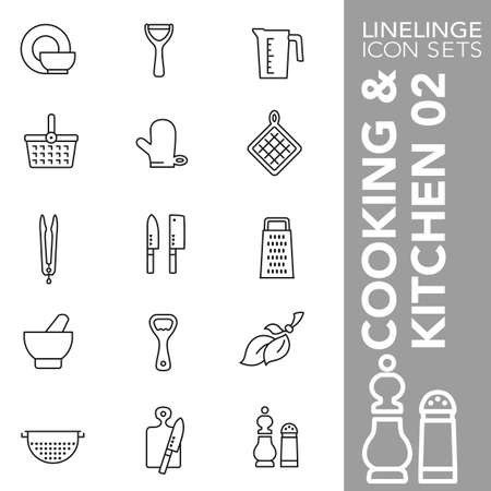 High quality thin line icons of cooking, kitchen and food. Linelings are the best pictogram pack unique linear design for all dimensions and devices. Stroke vector logo symbol and website content. Stock Illustratie