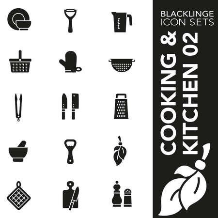 High quality black and white icons of cooking, kitchen and food. Blacklings are the best pictogram pack unique design for all dimensions and devices. Vector graphic, logo, symbol and website content