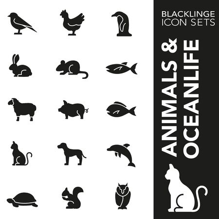High quality black and white icons of animals and ocean life. Blacklings are the best pictogram pack unique design for all dimensions and devices. Vector graphic  symbol and website content. Ilustração