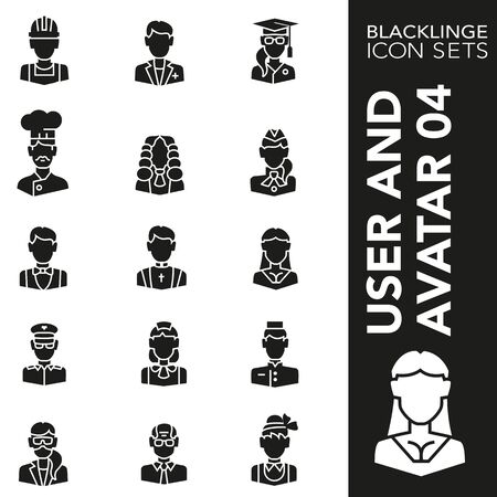 High quality black and white icons of user and avatar. Blacklings are the best pictogram pack unique design for all dimensions and devices. Vector graphic  symbol and website content.