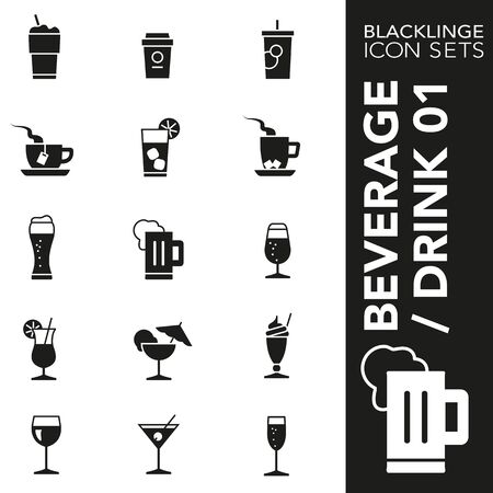 High quality black and white icons of beverages, drinks and coffee. Blacklings are the best pictogram pack unique design for all dimensions and devices. Vector graphic  symbol and website content