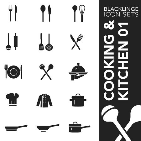 High quality black and white icons of cooking and kitchen. Blacklinge are the best pictogram pack unique design for all dimensions and devices. Vector graphic,  symbol and website content.
