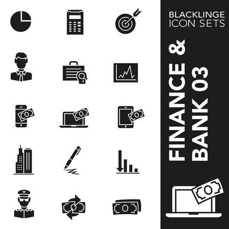 High quality black and white icons of financial and economic. Blacklinge are the best pictogram pack unique design for all dimensions and devices. Vector graphic, symbol and website content.