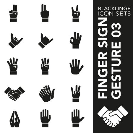High quality black and white icons of finger sign and hand gesture. Blacklinge are the best pictogram pack unique design for all dimensions and devices. Vector graphic, symbol and website content.