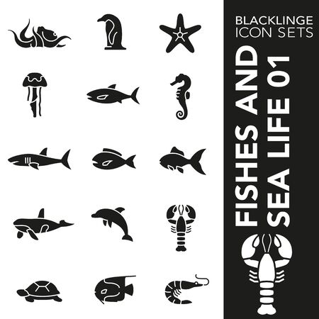 High quality black and white icons of ocean life and fishes. Blacklinge are the best pictogram pack unique design for all dimensions and devices. Vector graphic, symbol and website content. Illustration