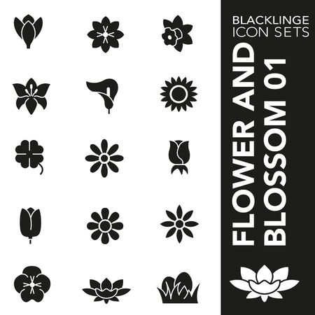 High quality black and white icons of Flower and Blossom. Blacklinge are the best pictogram pack unique design for all dimensions and devices. Vector graphic, symbol and website content.
