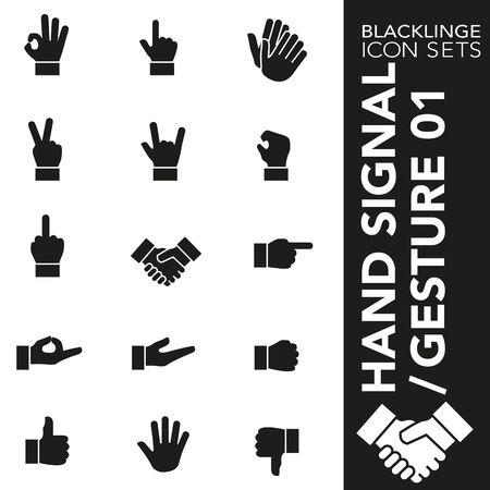 Hochwertige Schwarz-Weiß-Symbole für Handzeichen und Fingergesten. Blacklinge sind das beste Piktogrammpaket mit einzigartigem Design für alle Abmessungen und Geräte. Vektorgrafik, Symbol und Website-Inhalt.