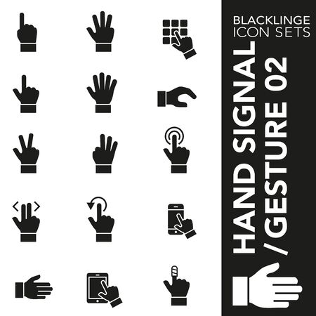 High quality black and white icons of Hand Signal and Finger Gesture. Blacklinge are the best pictogram pack unique design for all dimensions and devices. Vector graphic, symbol and website content. Standard-Bild - 128796752