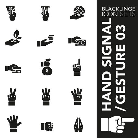 High quality black and white icons of Hand Signal and Finger Gesture. Blacklinge are the best pictogram pack unique design for all dimensions and devices. Vector graphic, symbol and website content. Standard-Bild - 128796747