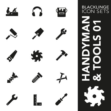 High quality black and white icons of Handyman and Tools. Blacklinge are the best pictogram pack unique design for all dimensions and devices. Vector graphic, symbol and website content. Ilustração