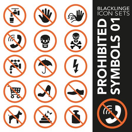 High quality black and white icons of no symbols and Interdiction. Blacklinge are the best pictogram pack unique design for all dimensions and devices. Vector graphic, symbol and website content. Archivio Fotografico - 128796756