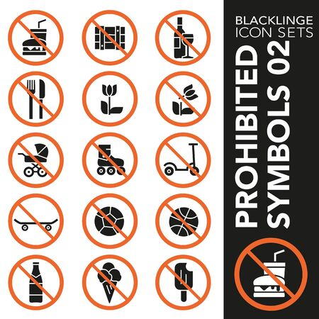 High quality black and white icons of no symbols and Interdiction. Blacklinge are the best pictogram pack unique design for all dimensions and devices. Vector graphic,   symbol and website content. Archivio Fotografico - 128796758