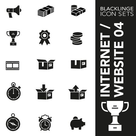 High quality black and white icons of Internet and Commercial. Blacklinge are the best pictogram pack unique design for all dimensions and devices. Vector graphic, symbol and website content. 일러스트