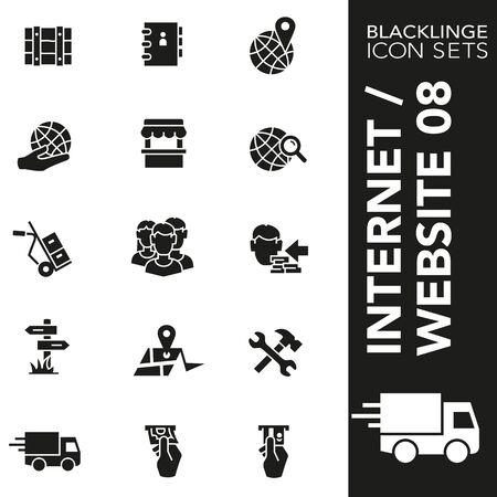High quality black and white icons of Internet and Commercial. Blacklinge are the best pictogram pack unique design for all dimensions and devices. Vector graphic, symbol and website content. Illustration