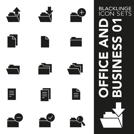 High quality black and white icons of documents, files and folder. Blacklinge are the best pictogram pack unique design for all dimensions and devices. Vector graphic, symbol and website content. Standard-Bild - 128796861