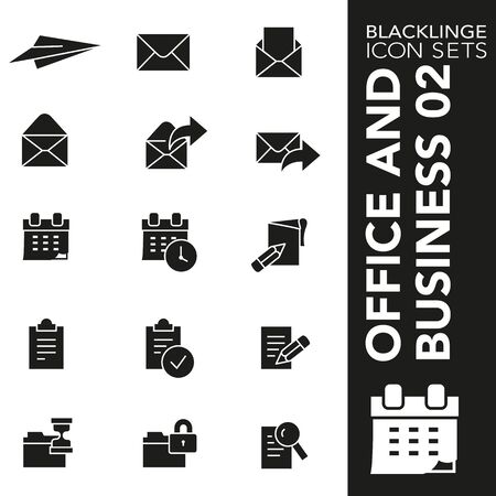 High quality black and white icons of documents, files and folder. Blacklinge are the best pictogram pack unique design for all dimensions and devices. Vector graphic,  symbol and website content Illusztráció