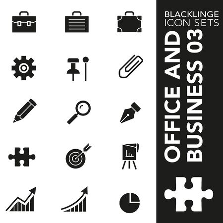 High quality black and white icons of Business and Office. Blacklinge are the best pictogram pack unique design for all dimensions and devices. Vector graphic, symbol and website content