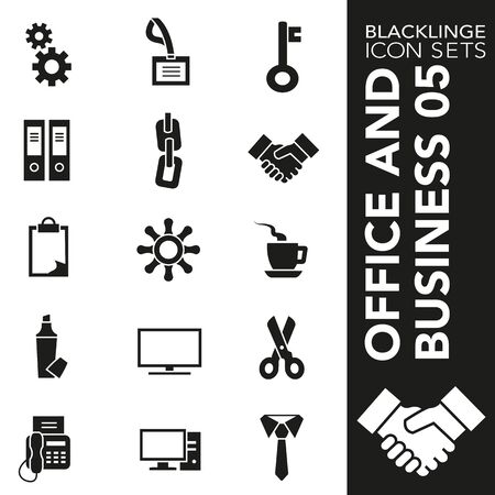 High quality black and white icons of Business and Office. Blacklinge are the best pictogram pack unique design for all dimensions and devices. Vector graphic, symbol and website content. 矢量图像