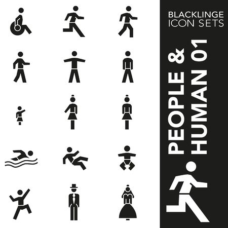 High quality black and white icons of People and Human. Blacklinge are the best pictogram pack unique design for all dimensions and devices. Vector graphic symbol and website content.