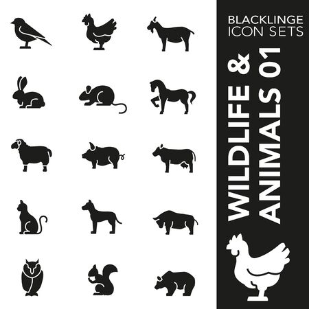 High quality black and white icons of Wildlife and Animals. Blacklinge are the best pictogram pack unique design for all dimensions and devices. Vector graphic symbol and website content.