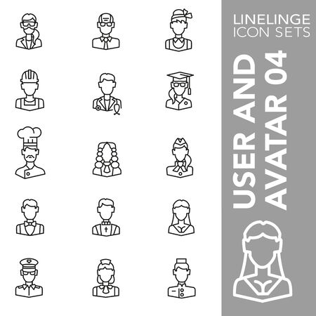 High quality thin line icons of user and avatar. Linelinge are the best pictogram pack unique design for all dimensions and devices. Vector graphic, symbol and website content.