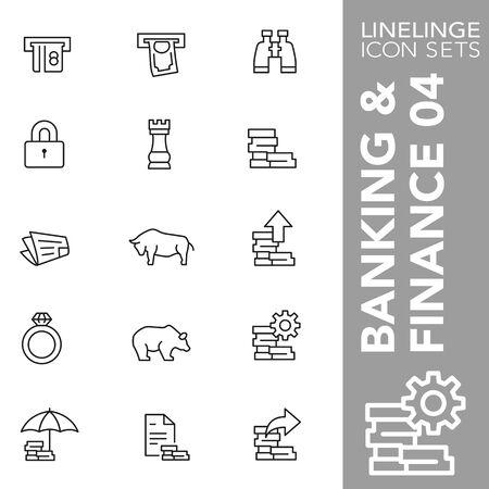 Dunne lijnpictogrammen van hoge kwaliteit van bankieren, financiën en economie. Linelinge is het beste pictogrampakket met een uniek ontwerp voor alle afmetingen en apparaten. Vectorafbeelding, symbool en website-inhoud.