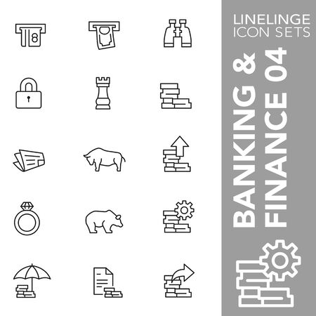 High quality thin line icons of Banking, finance and economy. Linelinge are the best pictogram pack unique design for all dimensions and devices. Vector graphic, , symbol and website content. Ilustracja
