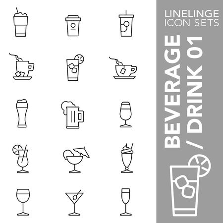 High quality thin line icons of Drinks and Beverage. Linelinge are the best pictogram pack unique design for all dimensions and devices. Vector graphic, symbol and website content. Vettoriali