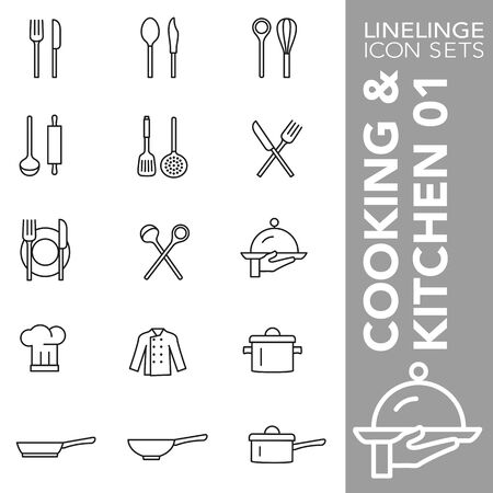 High quality thin line icons of Cooking and Kitchen. Linelinge are the best pictogram pack unique design for all dimensions and devices. Vector graphic,  symbol and website content. Stock Illustratie
