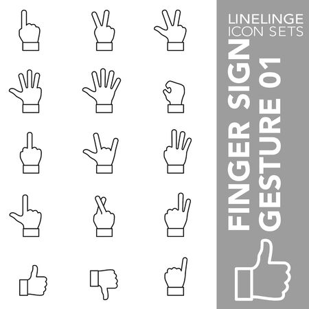 High quality thin line icons of finger sign and hand gesture. Linelinge are the best pictogram pack unique design for all dimensions and devices. Vector graphic, symbol and website content.