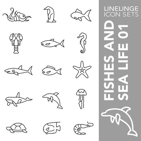 High quality thin line icons of fishes and ocean life. Linelinge are the best pictogram pack unique design for all dimensions and devices. Vector graphic,  symbol and website content.