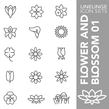 High quality thin line icons of flowers and blossom. Linelinge are the best pictogram pack unique design for all dimensions and devices. Vector graphic,  symbol and website content.