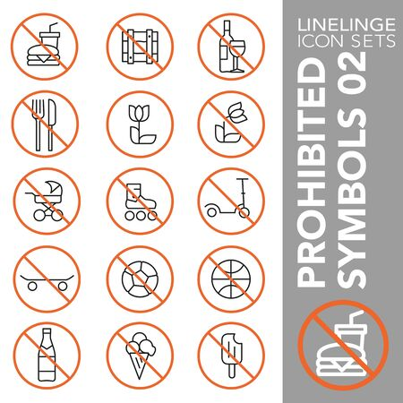 High quality thin line icons of no symbols and do not sign. Linelinge are the best pictogram pack unique design for all dimensions and devices. Vector graphic,  symbol and website content. Archivio Fotografico - 128798225