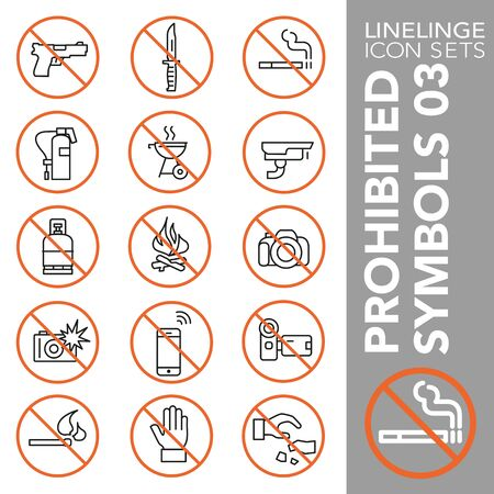 High quality thin line icons of no symbols and do not sign. Linelinge are the best pictogram pack unique design for all dimensions and devices. Vector graphic,   symbol and website content. 免版税图像 - 128798229